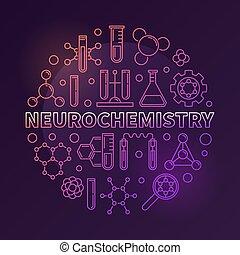 Neurochemistry vector modern round outline illustration