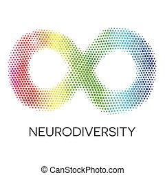 neurodiversity, símbolo., arco irirs, infinito, loop.