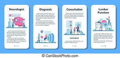 neurologen, ansökan, mobil, läkare, undersöka, set., mänsklig, baner