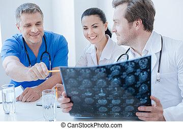 neurologen, foto, hersenen, kliniek, initiatief, x, het bespreken, straal