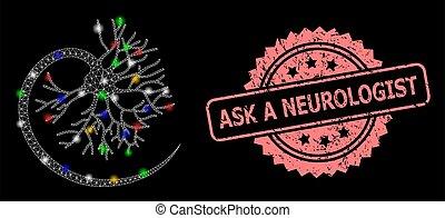 neurologen, grunge, nät, stämpel, lätt, fråga, fläckar, neuron