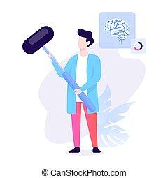 neurologen, hälsa, hammer., behandling, diagnostiskt, läkare, klinik