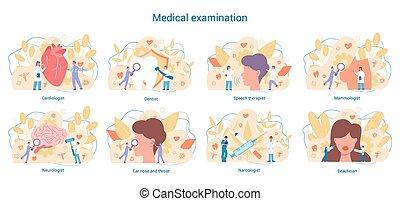 neurologen, specialties, kardiolog, tandläkare, set., medicinsk