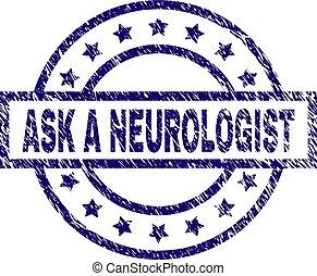 neurologen, strukturerad, fråga, stämpel, försegla, grunge