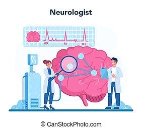 neurologen, undersöka, concept., läkare, idé, mänsklig, brain.