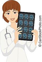 neurologen, xray, flicka, huvud, illustration