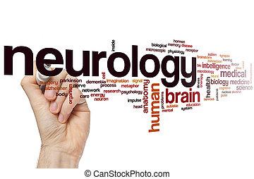 neurologie, mot, nuage