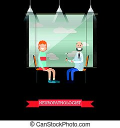 Neurologist and patient vector illustration in flat style -...