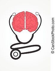 Neurologist - Pictogram of a stethoscope and human brain....