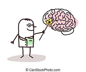 neurologue, cerveau, dessin animé
