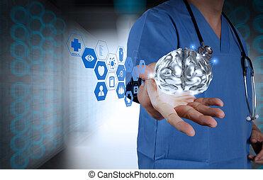 neurologue, exposition, docteur, métal, fond, cerveau, vert...