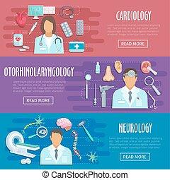 Neurology cardiology doctor vector medical banners - Medical...
