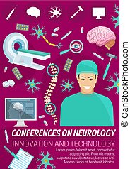 Neurology medicine conference banner with doctor - Neurology...
