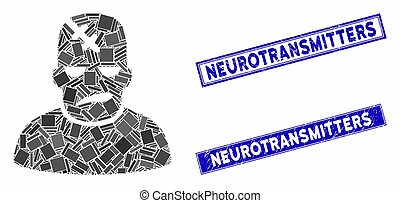 Neurology Patient Mosaic and Distress Rectangle Neurotransmitters Seals