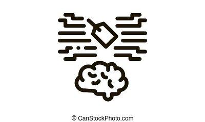 neuromarketing, étiquette, animation, cerveau, icône