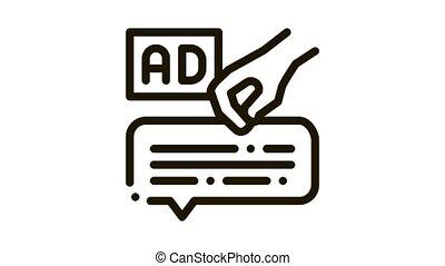 neuromarketing advertising Icon Animation. black neuromarketing advertising animated icon on white background