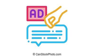 neuromarketing advertising Icon Animation. color neuromarketing advertising animated icon on white background