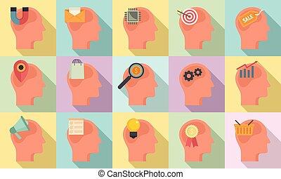 Neuromarketing icons set, flat style