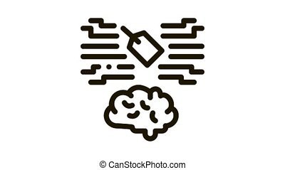 neuromarketing label and brain Icon Animation. black neuromarketing label and brain animated icon on white background
