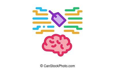 neuromarketing label and brain Icon Animation. color neuromarketing label and brain animated icon on white background