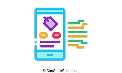 neuromarketing smartphone label app Icon Animation. color neuromarketing smartphone label app animated icon on white background