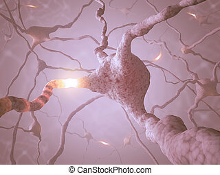 Neuron Concept - Inside the brain. Concept of neurons and...