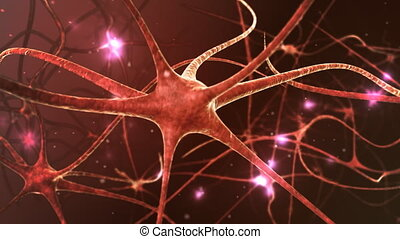 Neuron network - Neurons structure sending electric impulses...