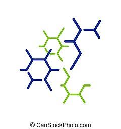 neurone, nanotechnology, vettore, cellula, icona, molecola, logotipo, biotech