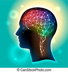 Anatomical representation. Profile of a human head with a colorful symbol of neurons in the brain