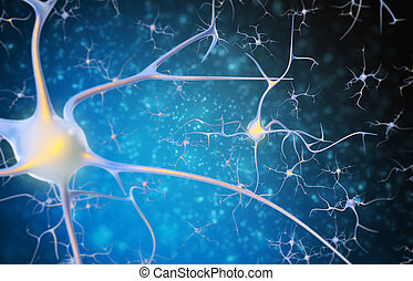 Neurons in the brain on a black and blue background.