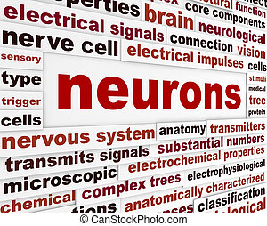 Neurons scientific words poster. Neurological science...