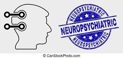 neuropsychiatric, détresse, liens, cerveau, coup, vecteur, cachet, interface, icône