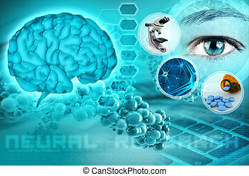 neuroscience concept - human brain and eye in an abstract...