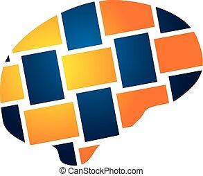 neuroscience Logo Design Template Vector