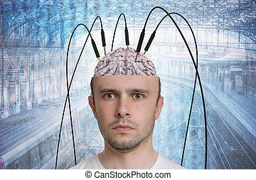 neuroscience, og, hjerne, forskning, concept., genopbygning, i, memor