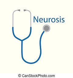 neurosis word and stethoscope icon- vector illustration