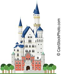 Neuschwanstein Castle (Bavaria, Germany). Isolated on white background vector illustration.