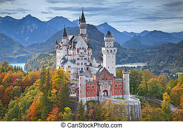 Image of Neuschwanstein Castle during autumn evening.