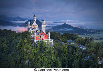 Neuschwanstein Castle is a nineteenth-century Romanesque Revival palace on a rugged hill above the village of Hohenschwangau near F?ssen in southwest Bavaria, Germany.
