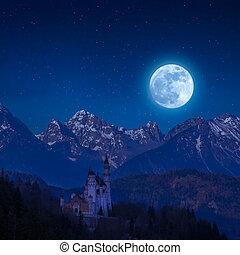 Neuschwanstein Castle in Moon Light - Neuschwanstein castle...