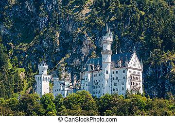 Neuschwanstein castle in the mountains, Austria