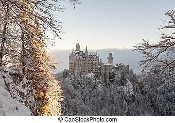 Neuschwanstein Castle in winter landscape. Germany