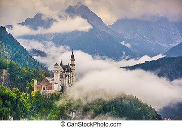 Neschwanstein Castle in the Bavarian Alps of Germany.