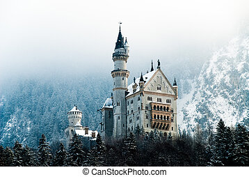 Neuschwanstein, Fuessen, Allgau - The famous castle of...