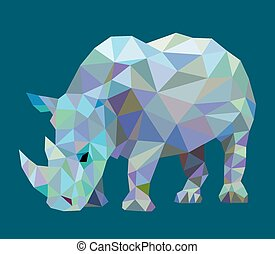 neushoorn, driehoek, laag, poly, dier