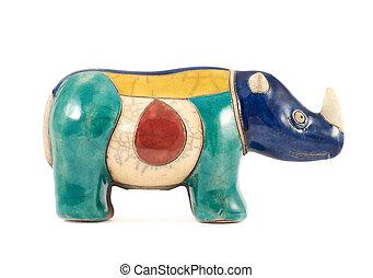 neushoorn, gebeeldhouwd kunstwerk, vrijstaand, neushoorn