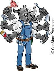 neushoorn, handyman, vasthouden, gereedschap, multitasking