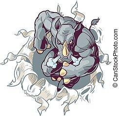neushoorn, het scheuren, uit, van, papier, achtergrond