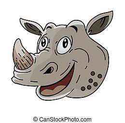 neushoorn, hoofd, spotprent
