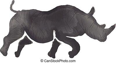 neushoorn, watercolor, rennende , silhouette